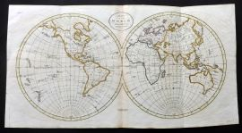 Guthrie 1788 HC Map. Map of the World  from the best Authorities. Hemipsheres